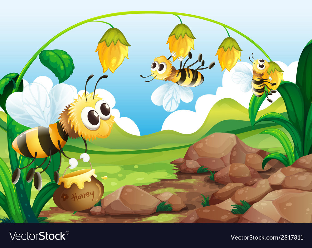 Bee and flowers vector | Price: 3 Credit (USD $3)