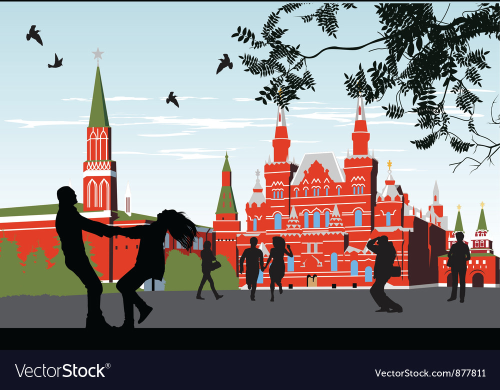 Couples on the red square vector | Price: 3 Credit (USD $3)
