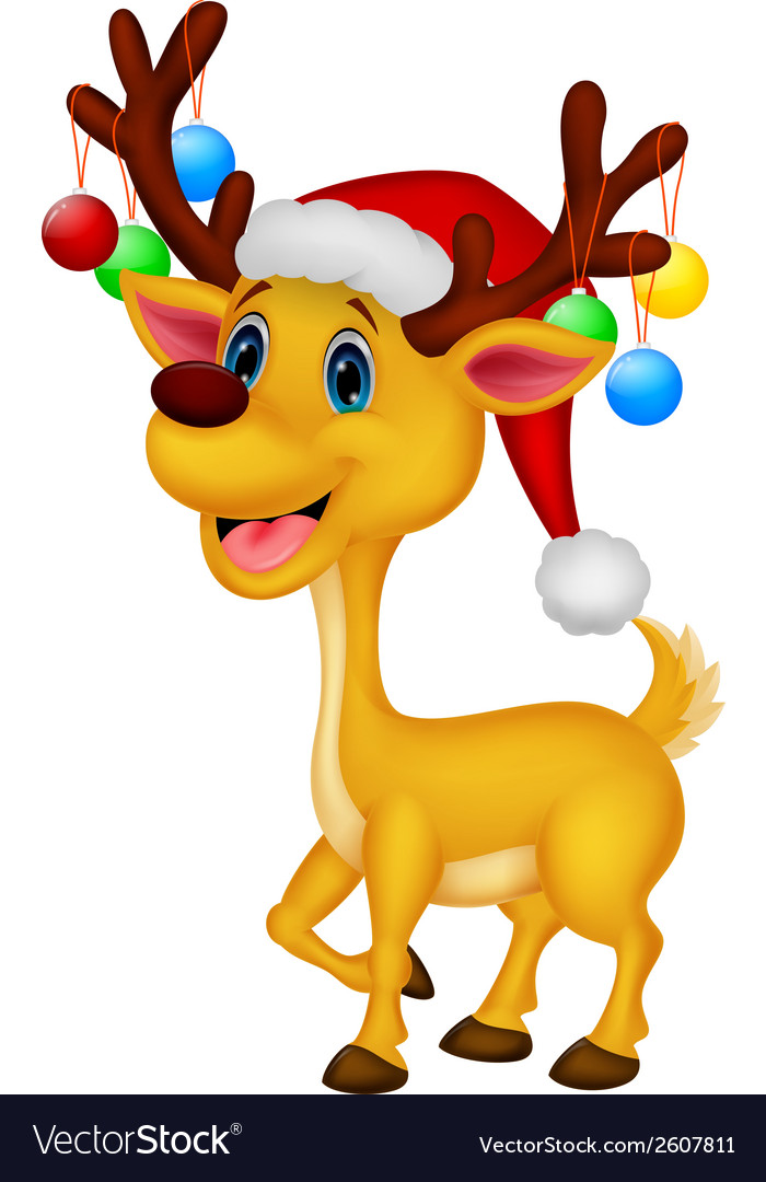 Cute deer cartoon wearing red hat vector | Price: 1 Credit (USD $1)