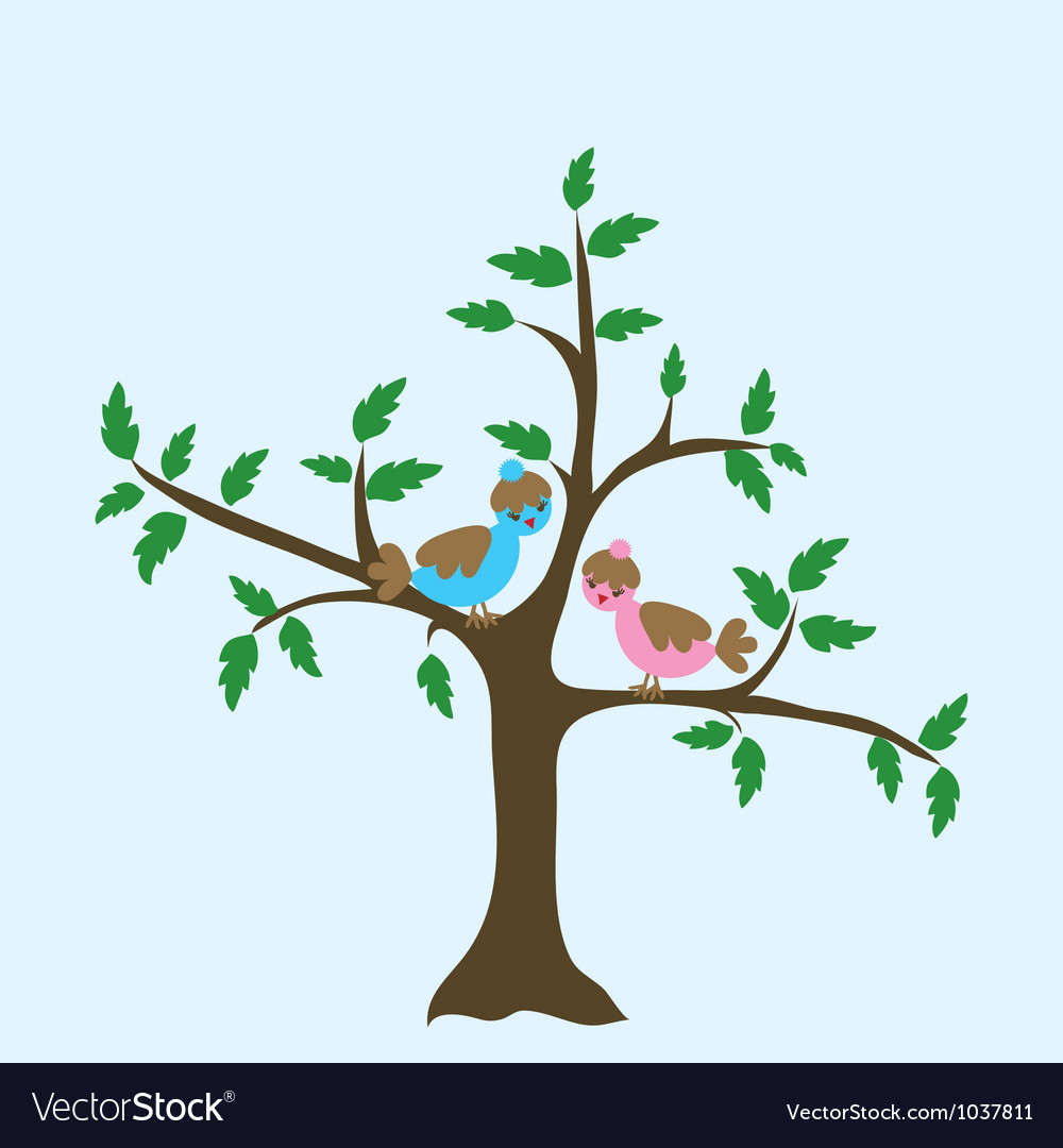 Decorative floral tree and bird vector | Price: 1 Credit (USD $1)
