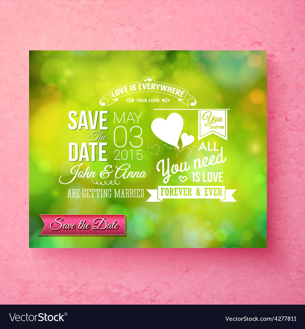 Fresh green organic save the date wedding template vector | Price: 1 Credit (USD $1)