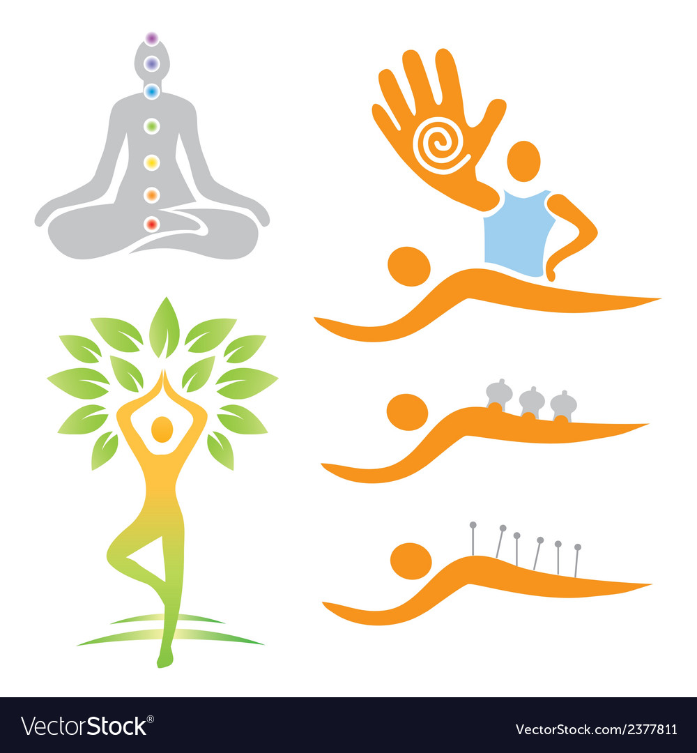 Icons yoga massage alternative medicine vector | Price: 1 Credit (USD $1)