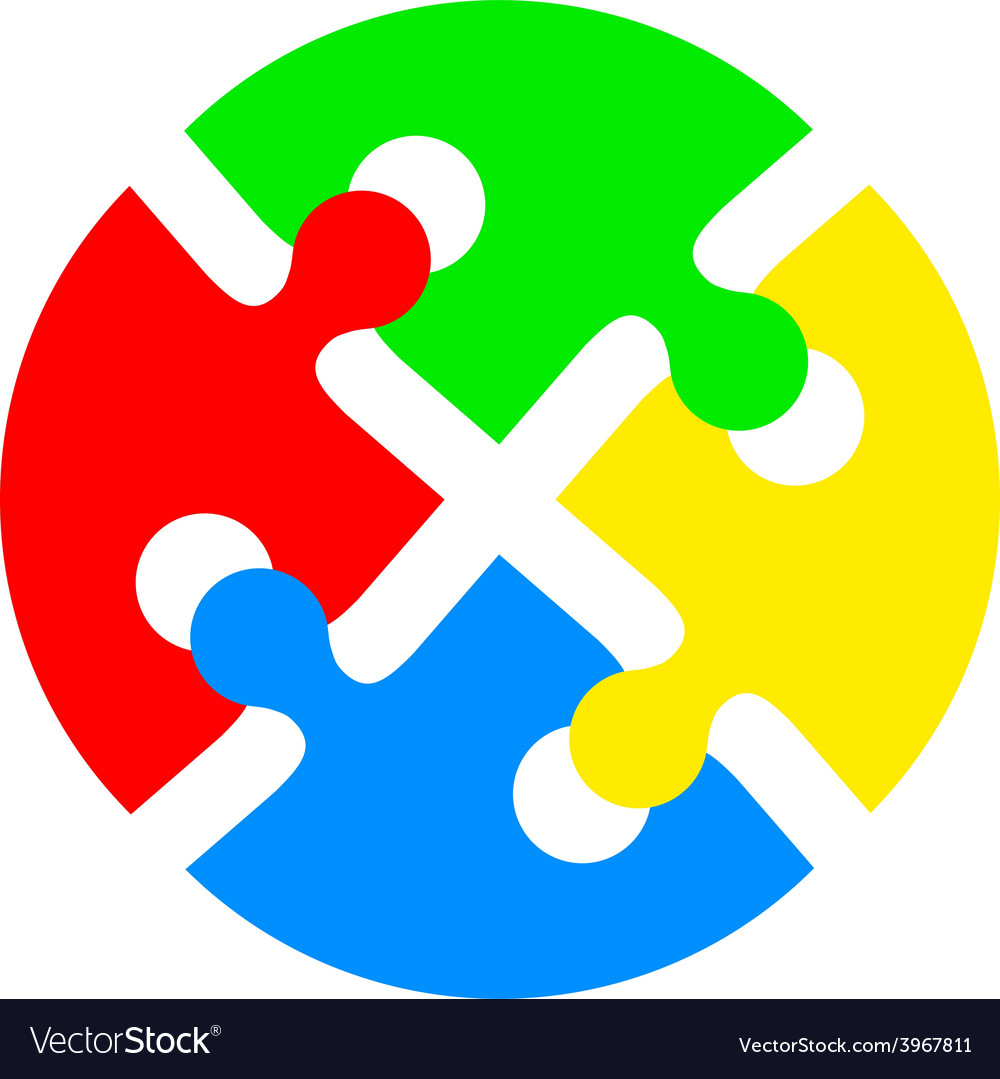 Jigsaw puzzle in the form of push the colored vector | Price: 1 Credit (USD $1)