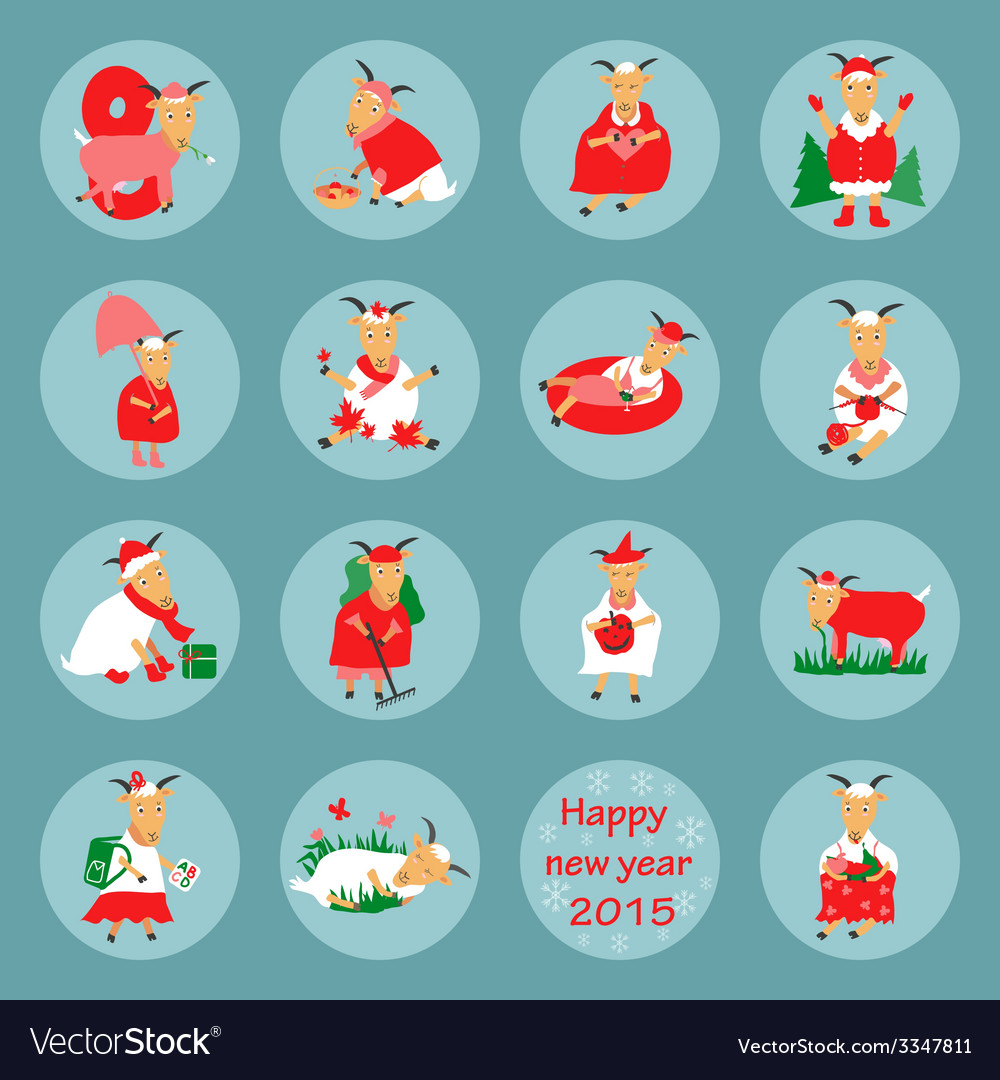 New year flat icon goat vector | Price: 1 Credit (USD $1)