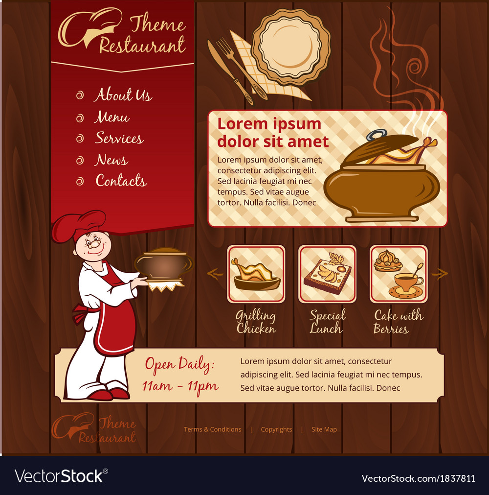 Restaurant wood template with chief vector | Price: 1 Credit (USD $1)