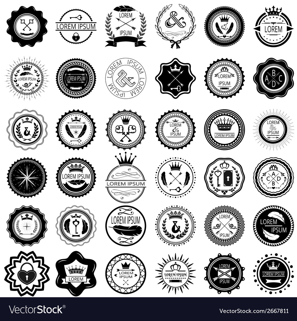 Set of 36 vintage round labels vector | Price: 1 Credit (USD $1)