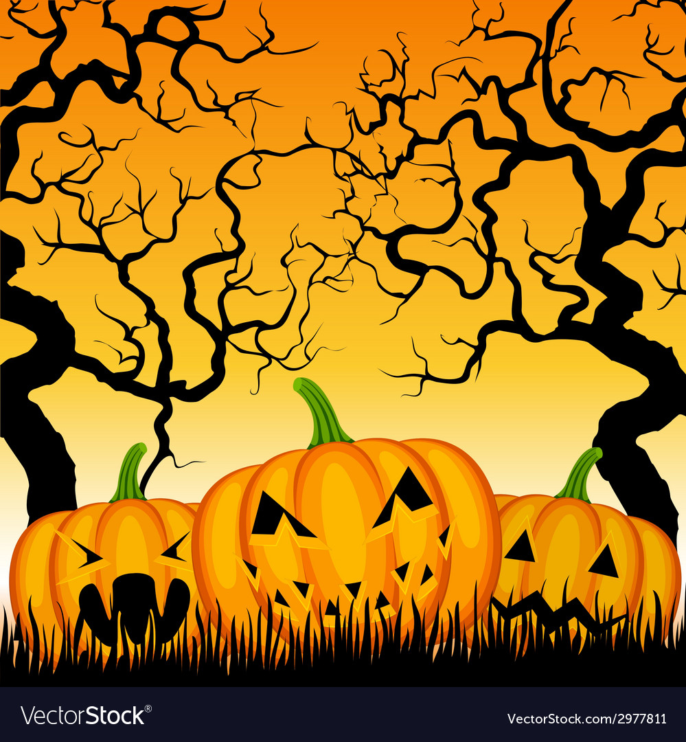 Three pumpkins and trees vector | Price: 1 Credit (USD $1)