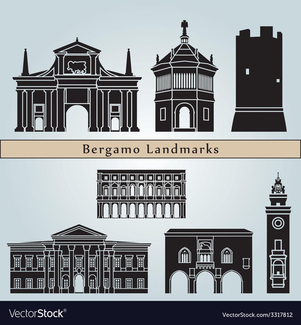 Bergamo landmarks and monuments vector