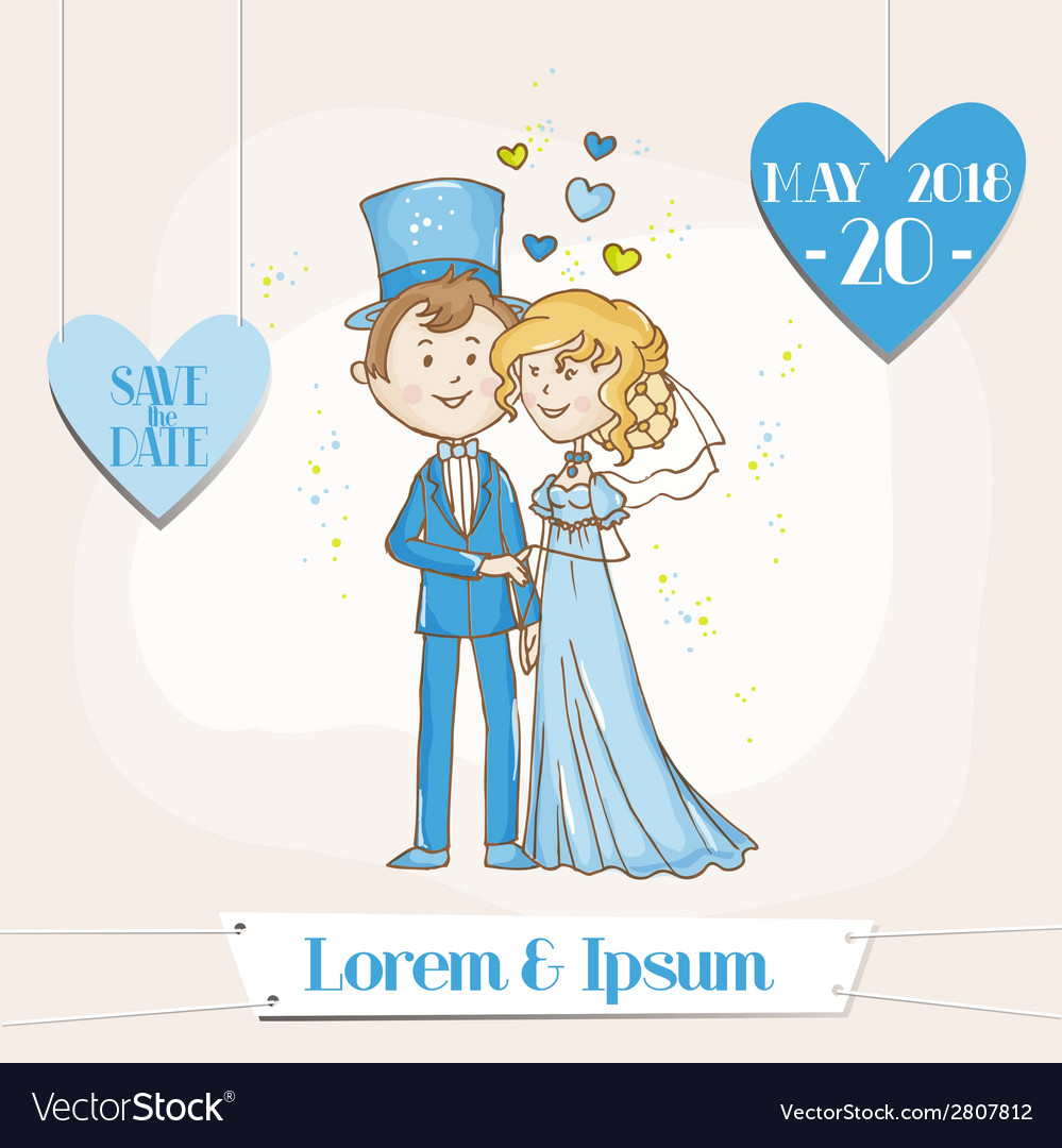Bride and groom - save the date wedding card vector | Price: 1 Credit (USD $1)