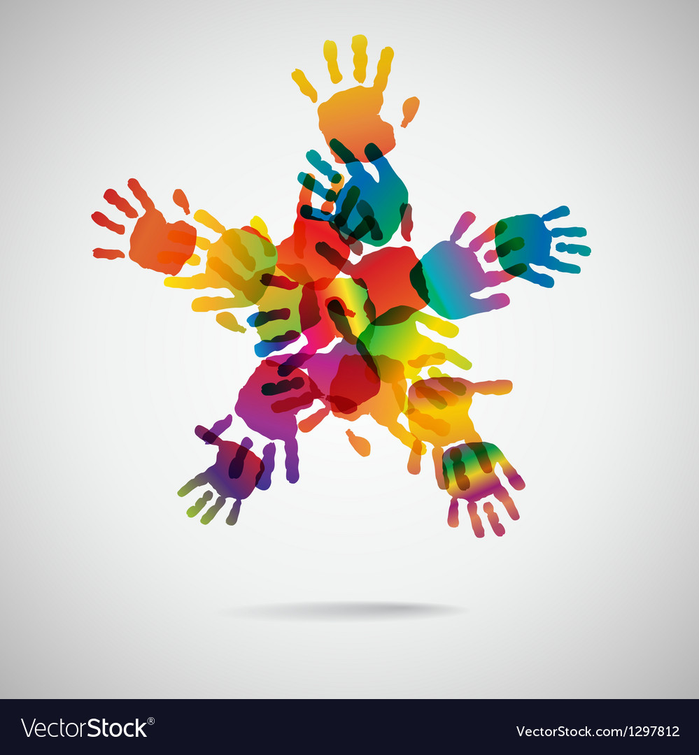 Colored star from hand print icons vector | Price: 1 Credit (USD $1)