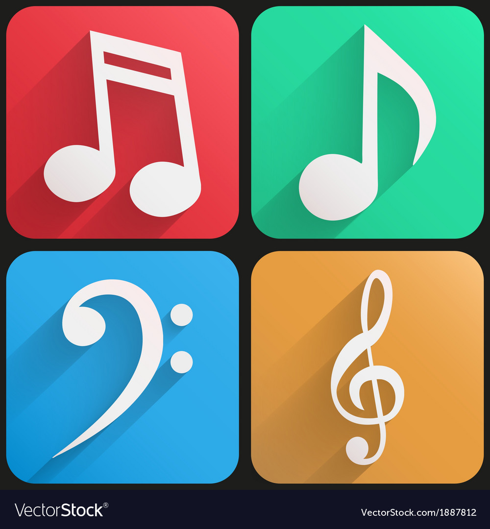 Flat icon set music for web and application vector | Price: 1 Credit (USD $1)