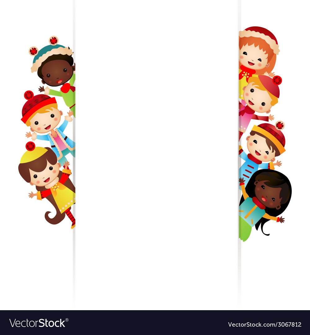 Frame with multinational children in bright vector | Price: 1 Credit (USD $1)