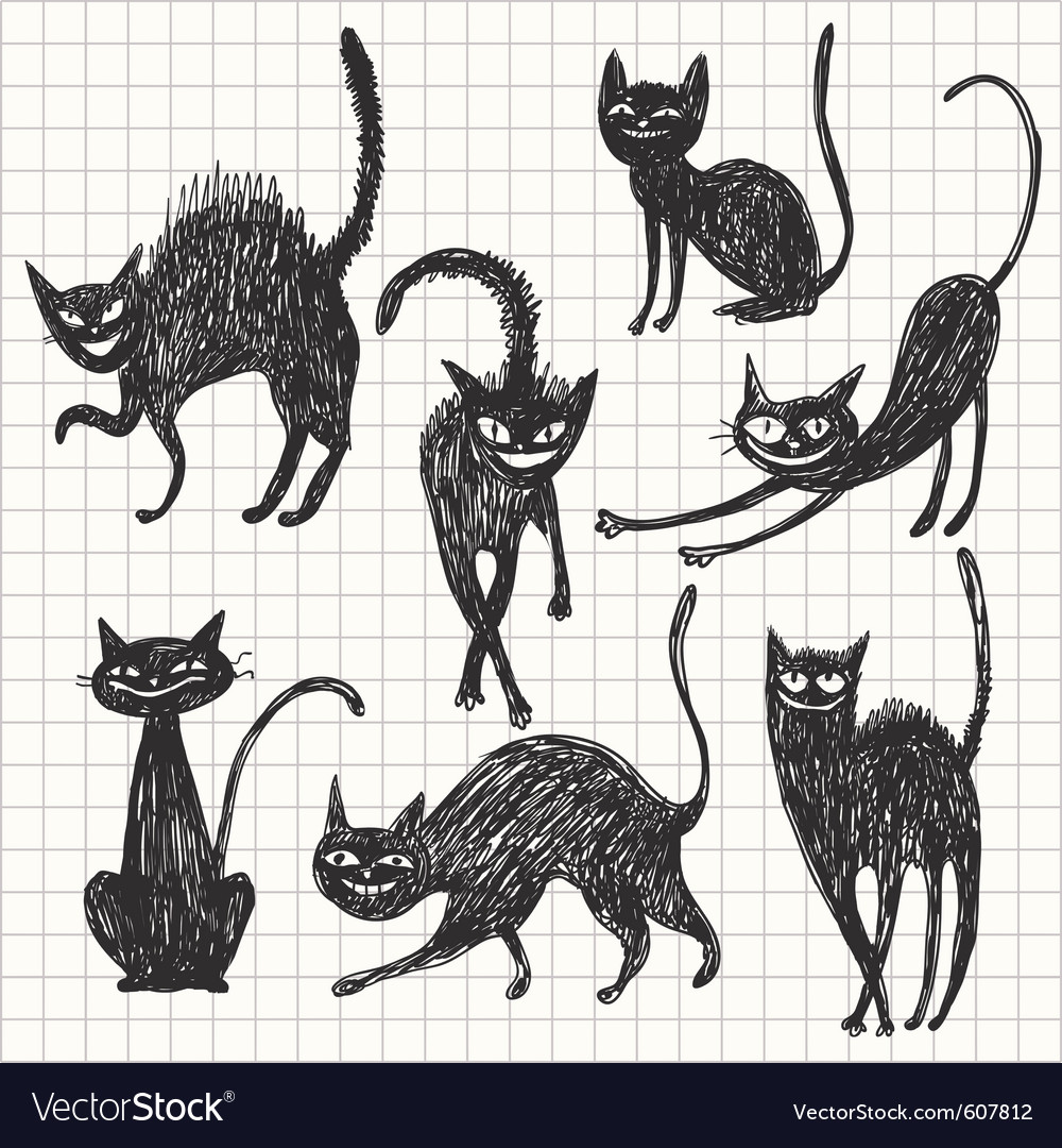 Hand drawn black cats in different poses vector | Price: 1 Credit (USD $1)