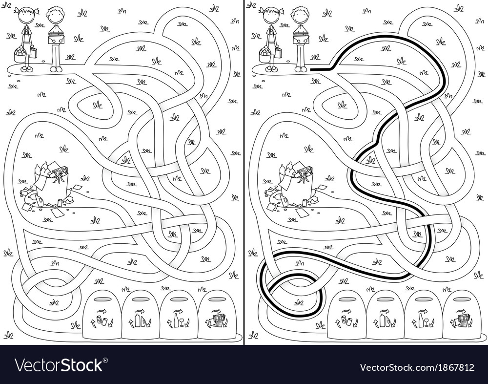 Recycling maze vector   Price: 1 Credit (USD $1)