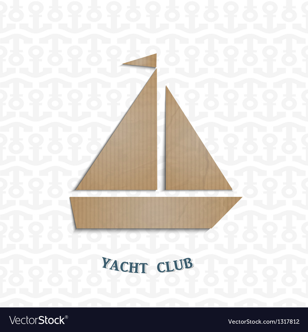Yacht cut out of cardboard vector | Price: 1 Credit (USD $1)