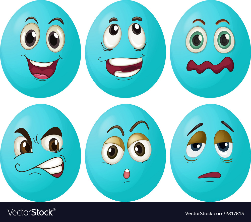Blue egg expressions vector | Price: 1 Credit (USD $1)