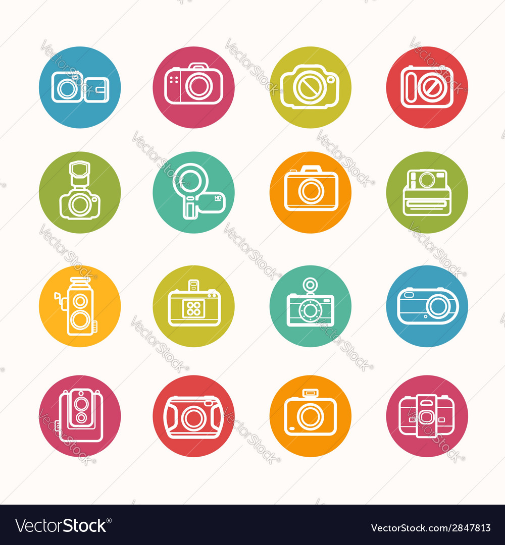 Camera icons set circle series vector | Price: 1 Credit (USD $1)