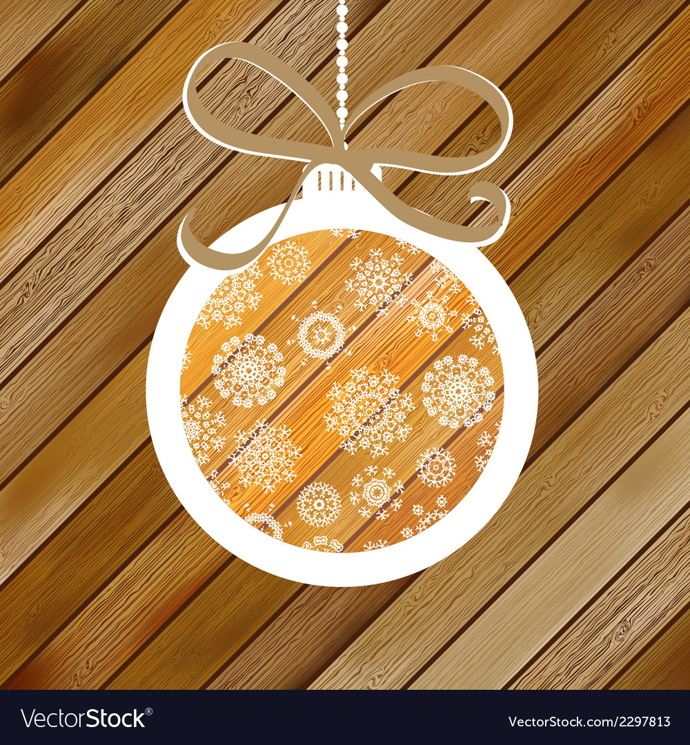 Christmas wood background with ball  eps8 vector | Price: 1 Credit (USD $1)