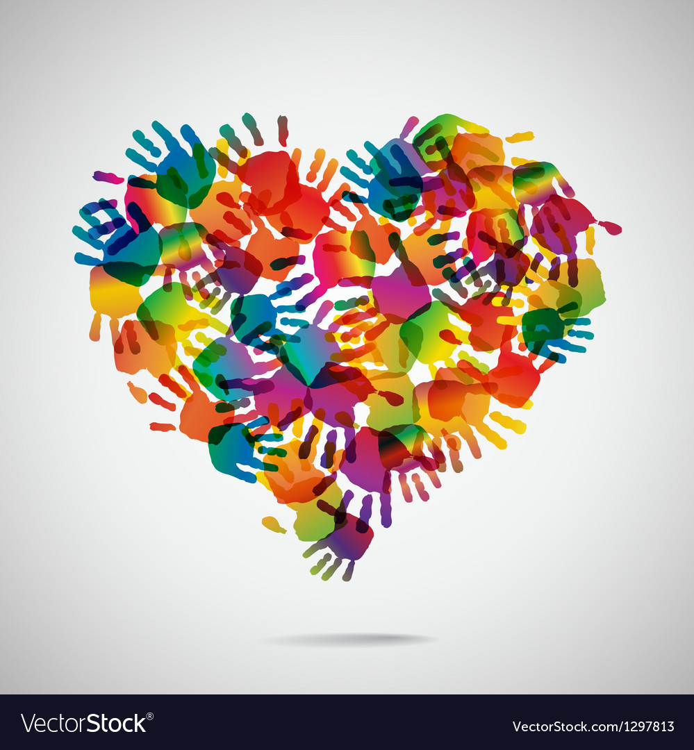 Colored heart from hand print icons vector | Price: 1 Credit (USD $1)