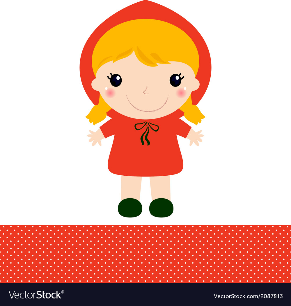 Cute red riding hood isolated on white vector | Price: 1 Credit (USD $1)
