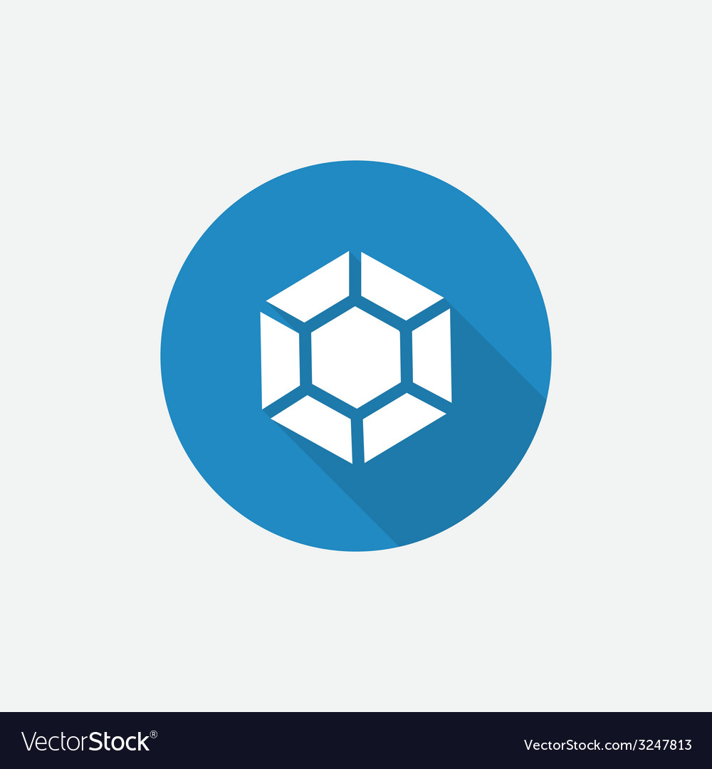 Diamond flat blue simple icon with long shadow vector | Price: 1 Credit (USD $1)