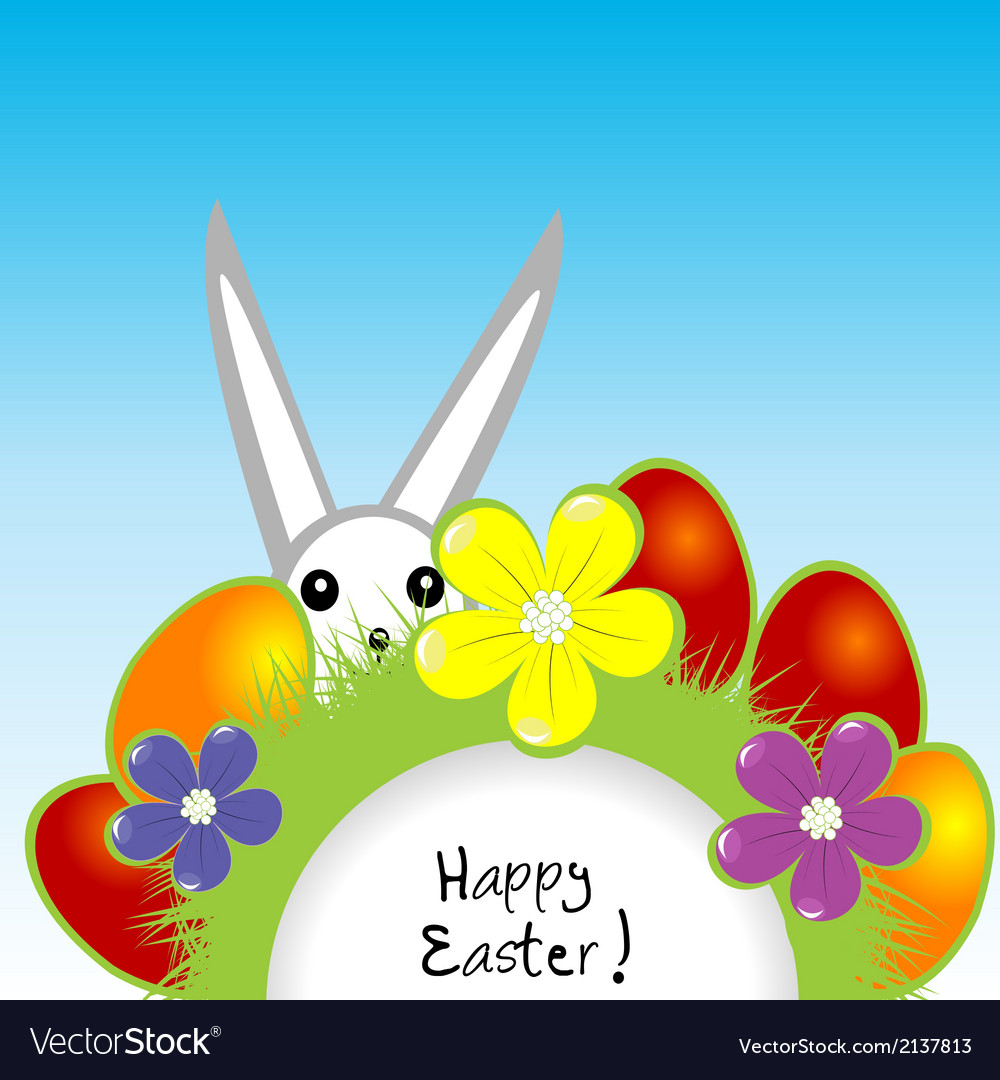 Easter card with bunny and eggs vector | Price: 1 Credit (USD $1)