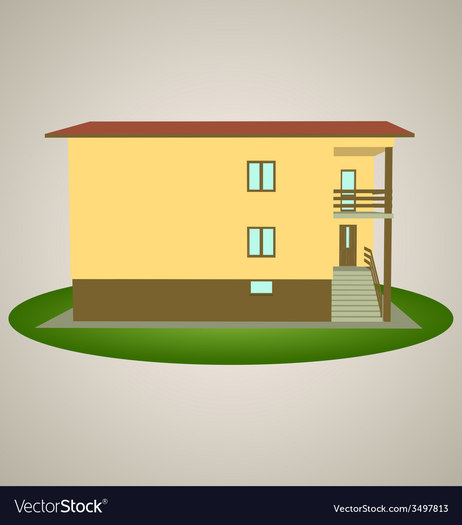 Front view house 2 vector | Price: 1 Credit (USD $1)