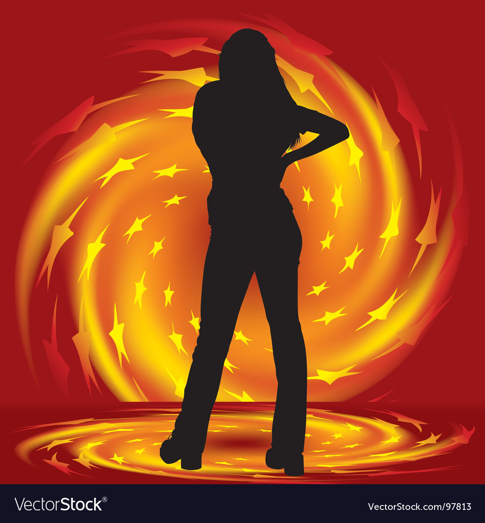 Girl and fire twirl vector | Price: 1 Credit (USD $1)