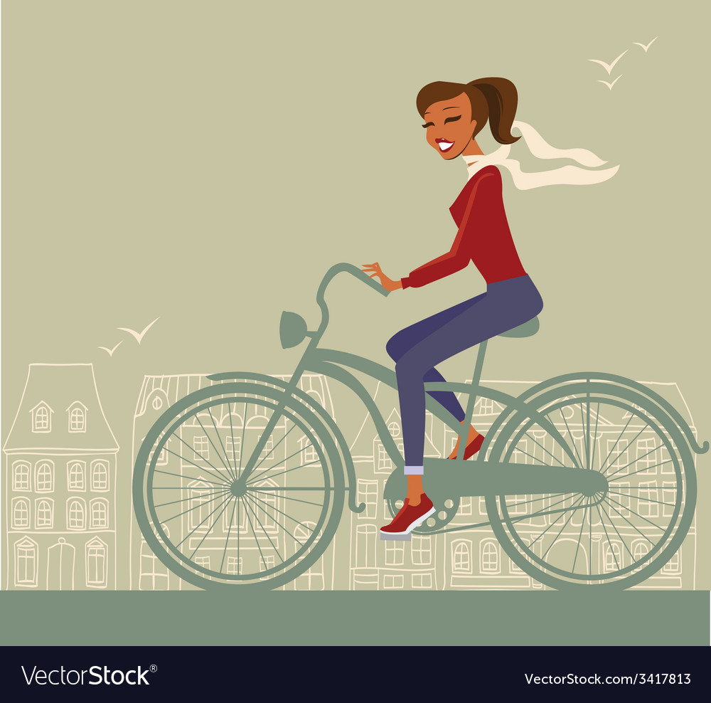 Girl cycling vector   Price: 1 Credit (USD $1)