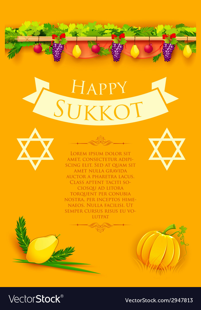 Jewish festival happy sukkot vector | Price: 1 Credit (USD $1)