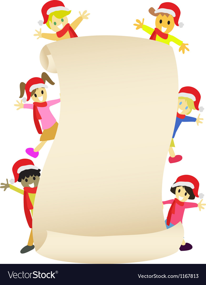 Kids with blank banner for christmas coming vector | Price: 1 Credit (USD $1)
