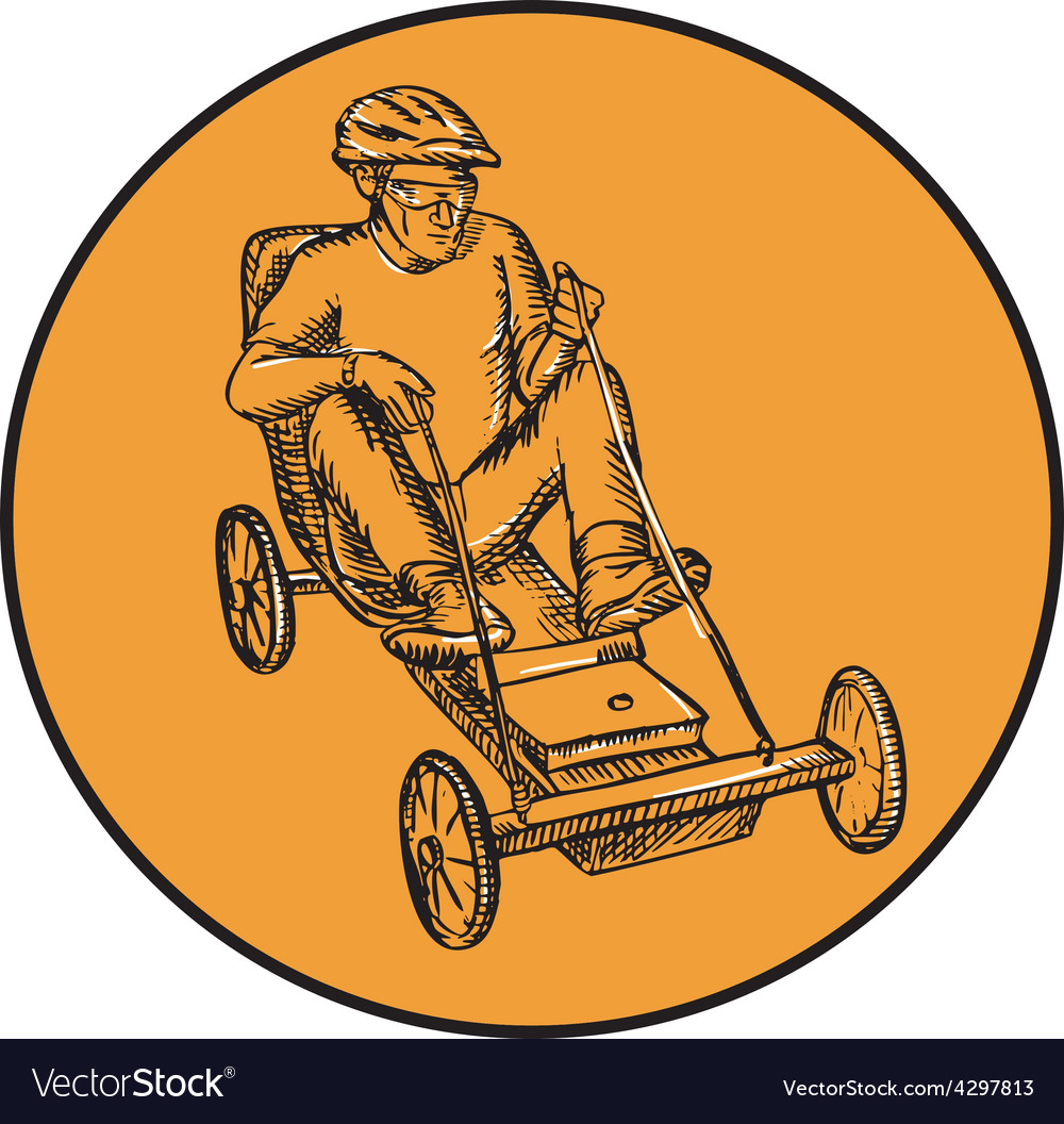 Rider riding soapbox etching vector | Price: 1 Credit (USD $1)