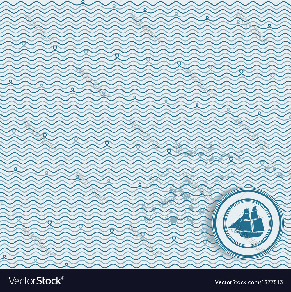 Sea wave hand-drawn pattern waves background vector | Price: 1 Credit (USD $1)