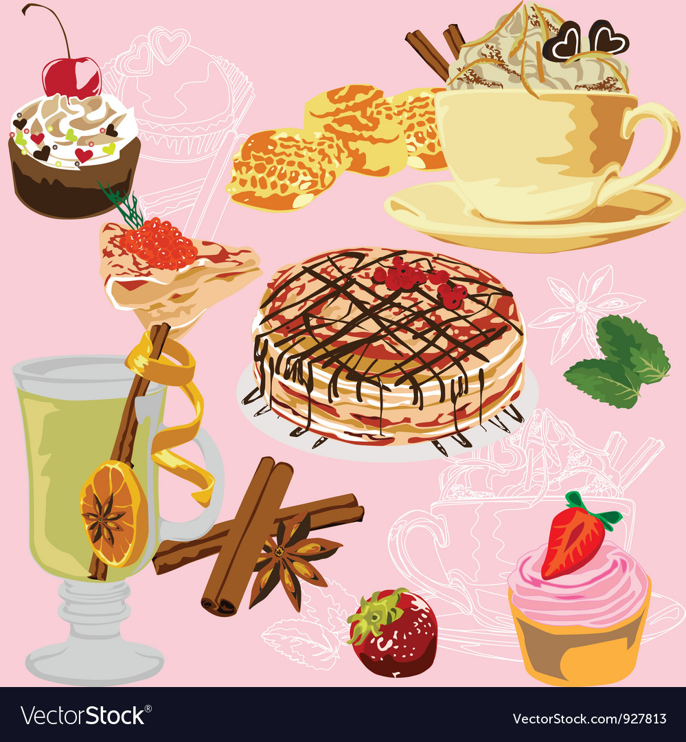 Seamless background with a meal vector | Price: 3 Credit (USD $3)