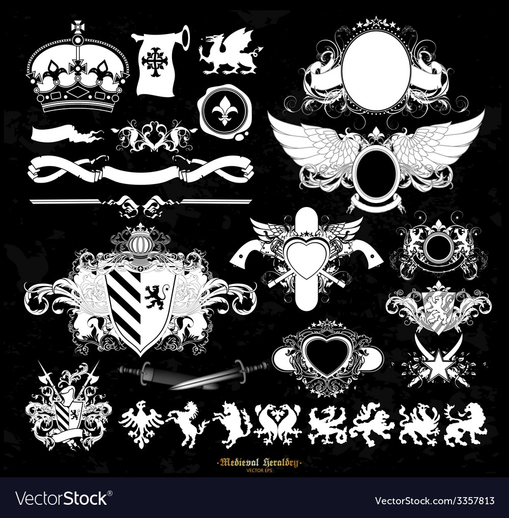Set of medieval heraldry vector | Price: 3 Credit (USD $3)