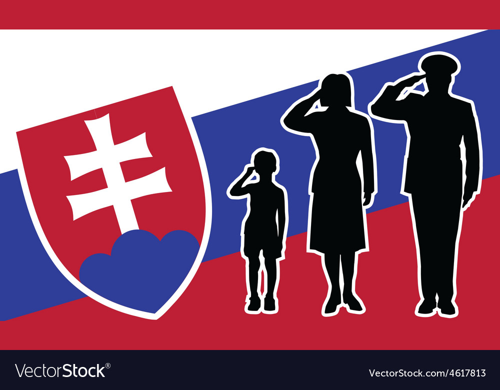 Slovakia soldier family salute vector | Price: 1 Credit (USD $1)