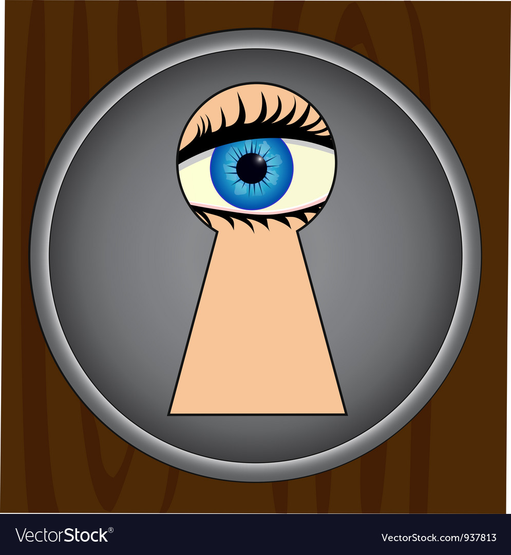 Spying through keyhole vector | Price: 1 Credit (USD $1)
