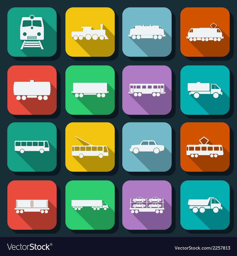 Transportation flat icons vector | Price: 1 Credit (USD $1)