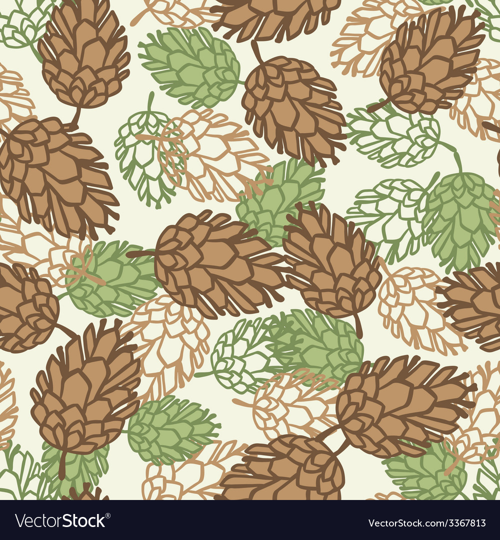 Winter seamless pattern with stylized pine cones vector | Price: 1 Credit (USD $1)