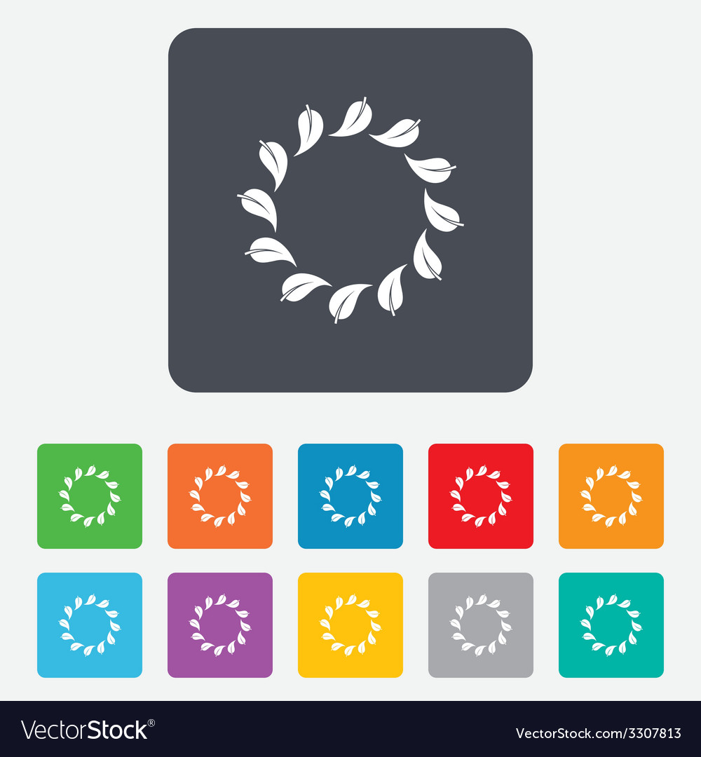 Wreath of leaves sign icon leaf circle symbol vector   Price: 1 Credit (USD $1)