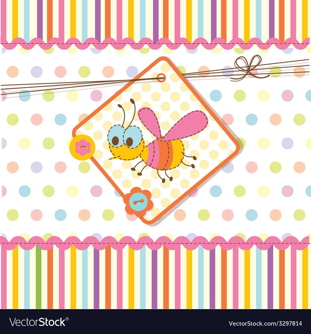 Baby shower with bee 2 vector | Price: 1 Credit (USD $1)