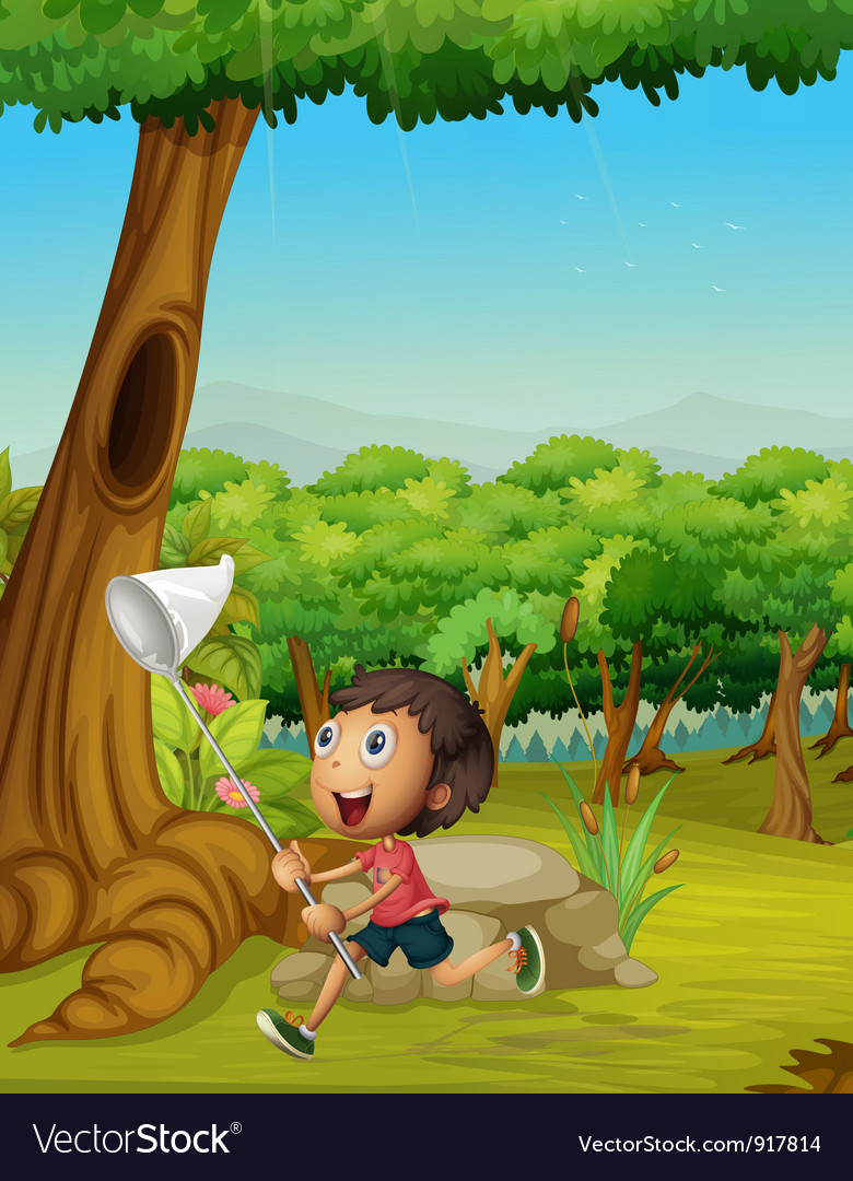 Boy running in a forest vector | Price: 3 Credit (USD $3)