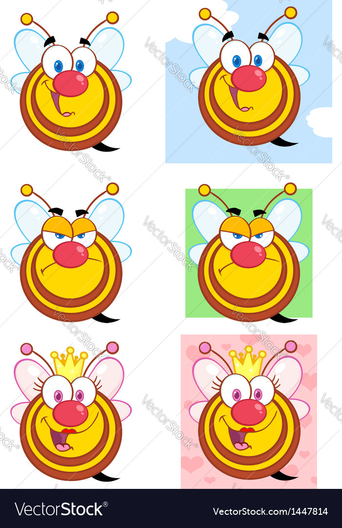 Cute honey bees cartoon character collection vector