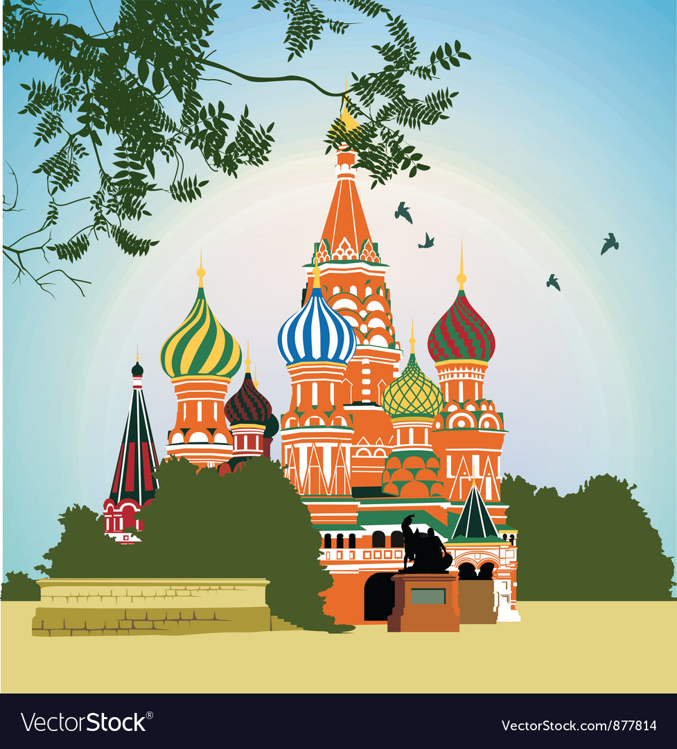 Domes of the famous head of st basils cathedral on vector | Price: 3 Credit (USD $3)