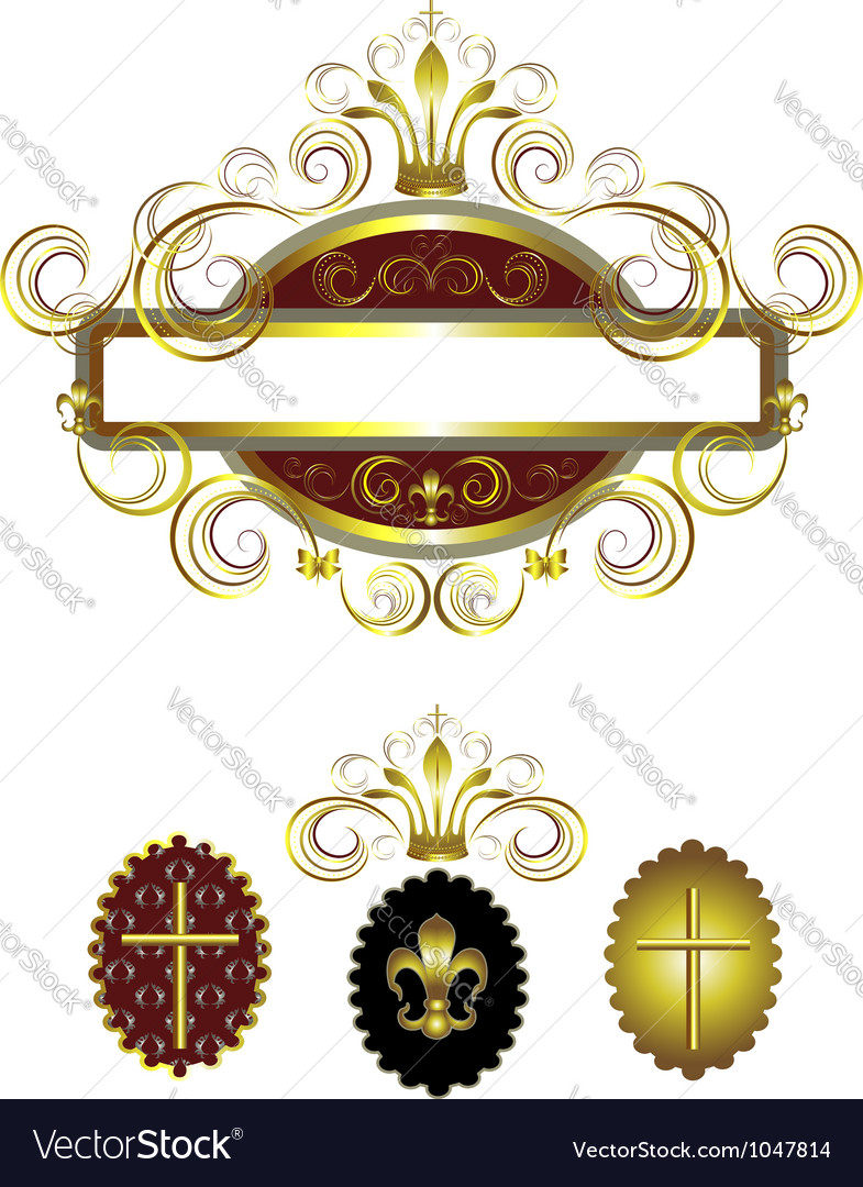 Frame with a gold cross vector | Price: 1 Credit (USD $1)