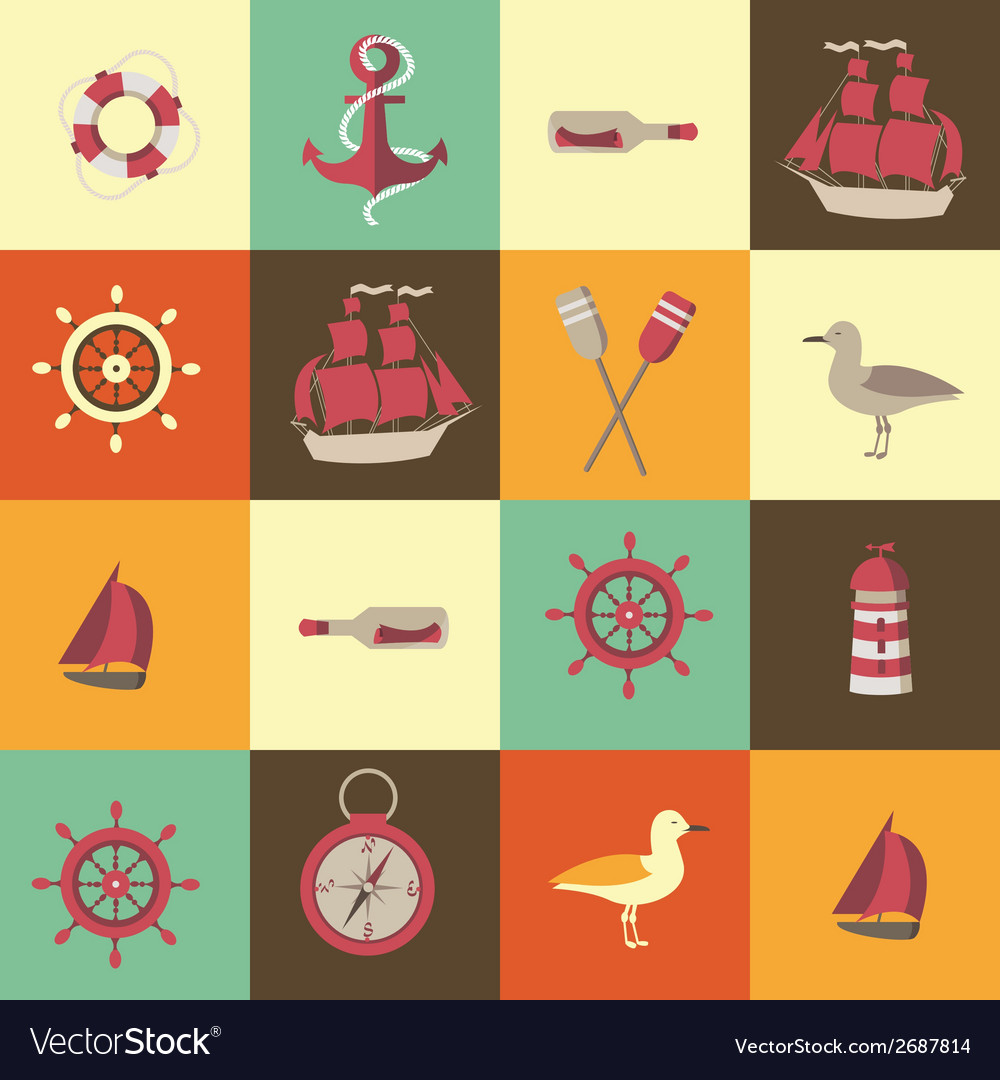 Navigation seamless background with sea elements vector | Price: 1 Credit (USD $1)