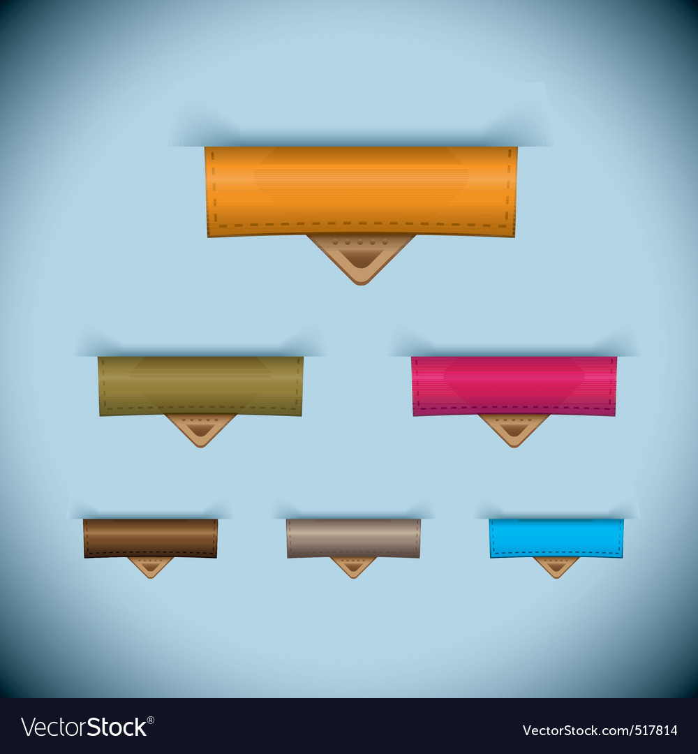 Paper tab icon leather tag set vector   Price: 1 Credit (USD $1)