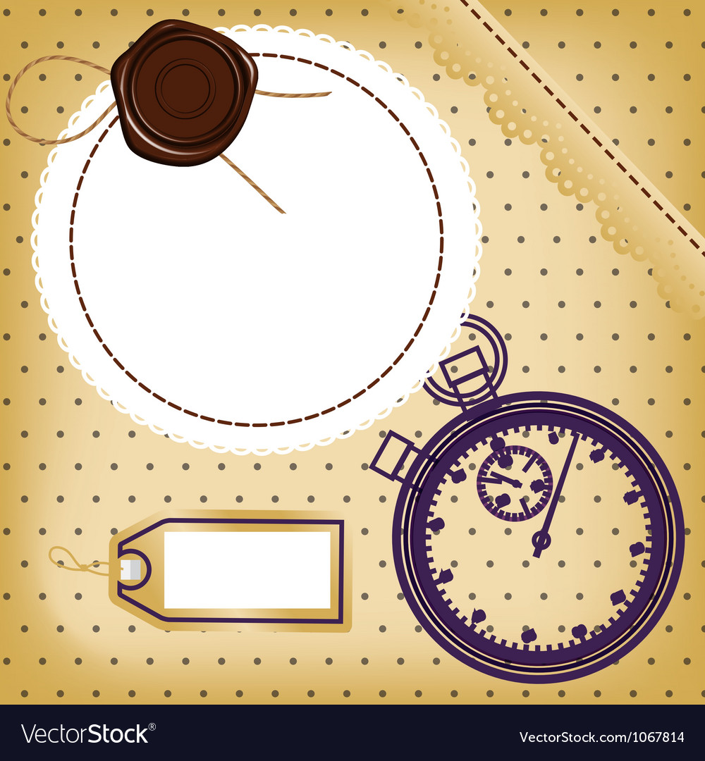 Scrapbook card with price tag and stopwatch vector | Price: 1 Credit (USD $1)