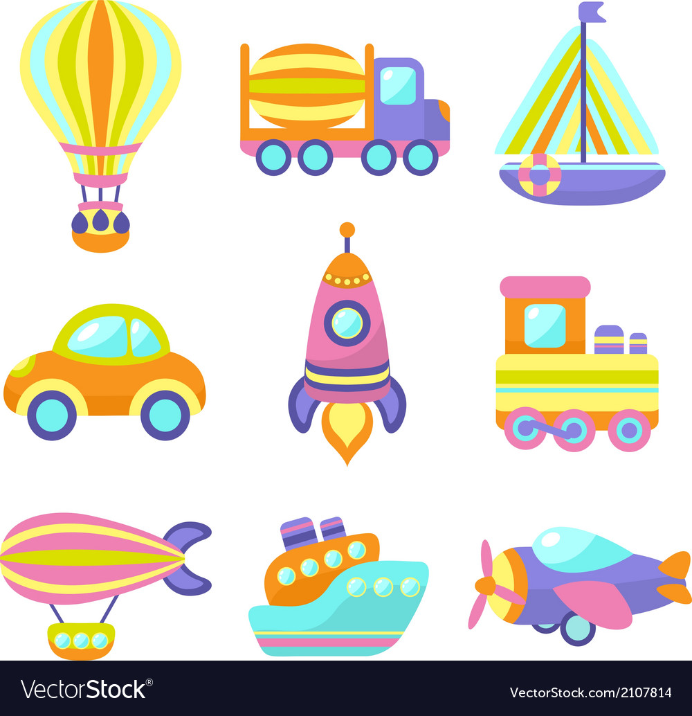 Transport toys icons set vector | Price: 1 Credit (USD $1)