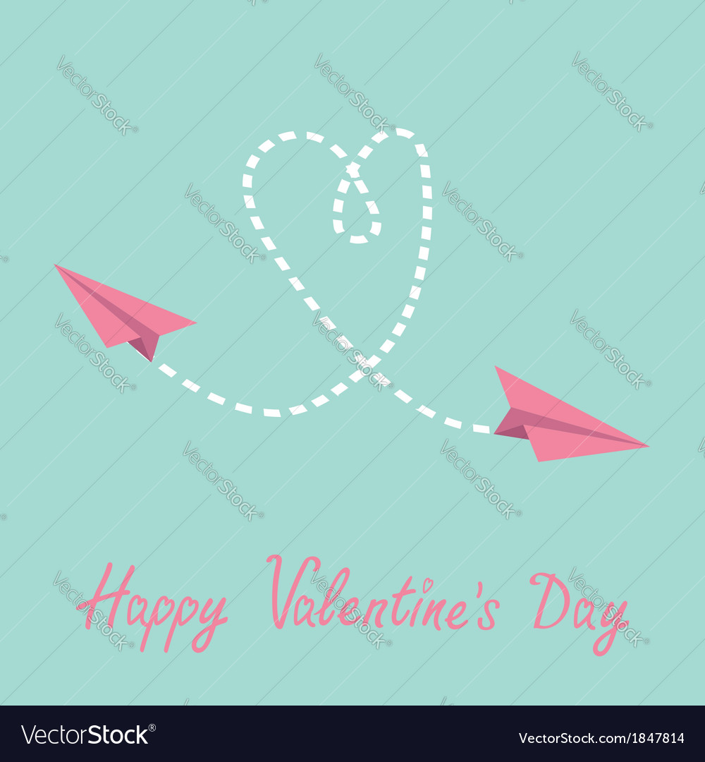 Two flying paper planes heart valentines day card vector | Price: 1 Credit (USD $1)